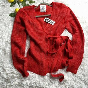 Urban Outfitters Red Tuscany Ribbed Wrap Sweater